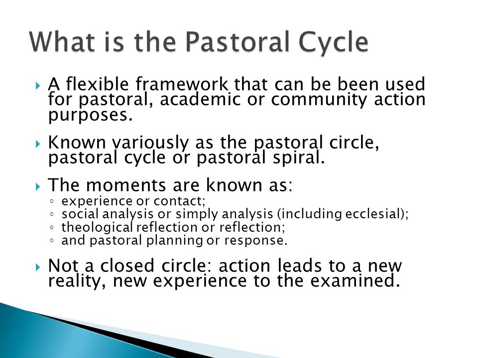 A flexible framework that can be been used for pastoral, academic or community action purposes.