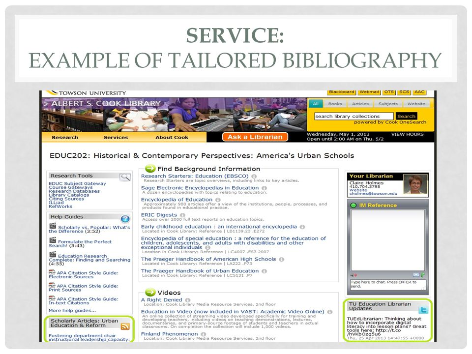 SERVICE: EXAMPLE OF TAILORED BIBLIOGRAPHY