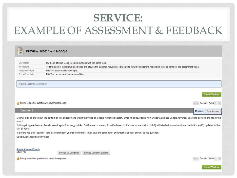 SERVICE: EXAMPLE OF ASSESSMENT & FEEDBACK