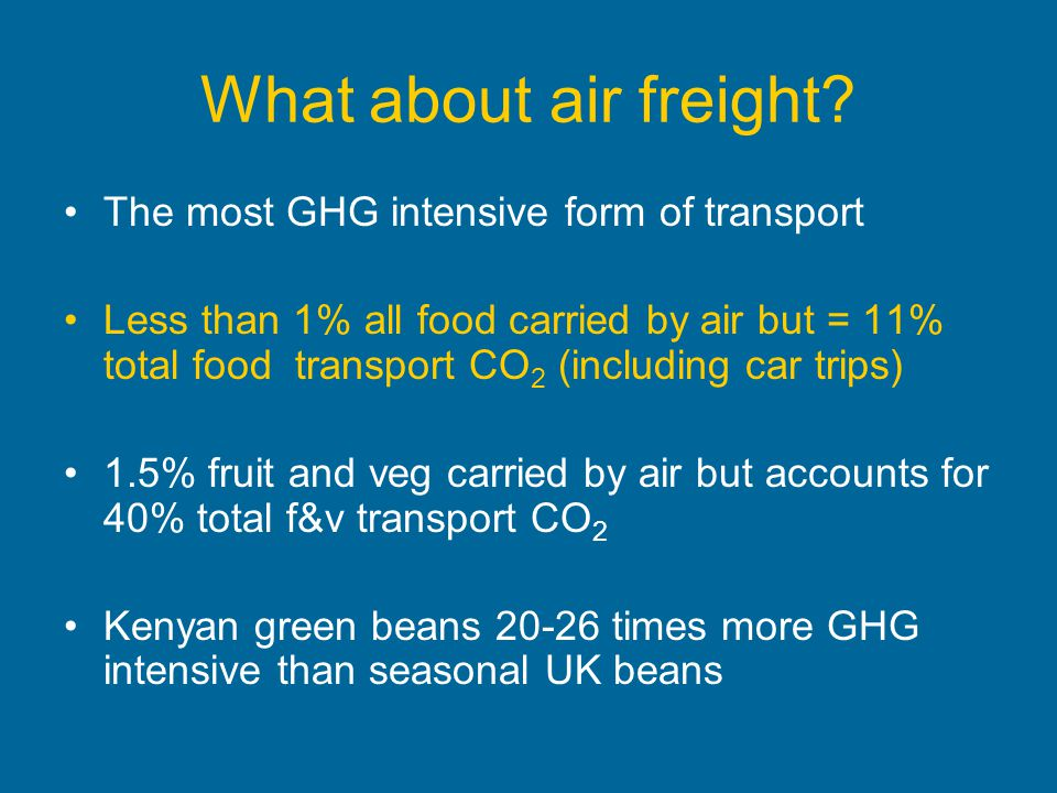 What about air freight? The most GHG intensive form of transport Less than 1% all food carried by air but = 11% total food transport CO 2 (including c