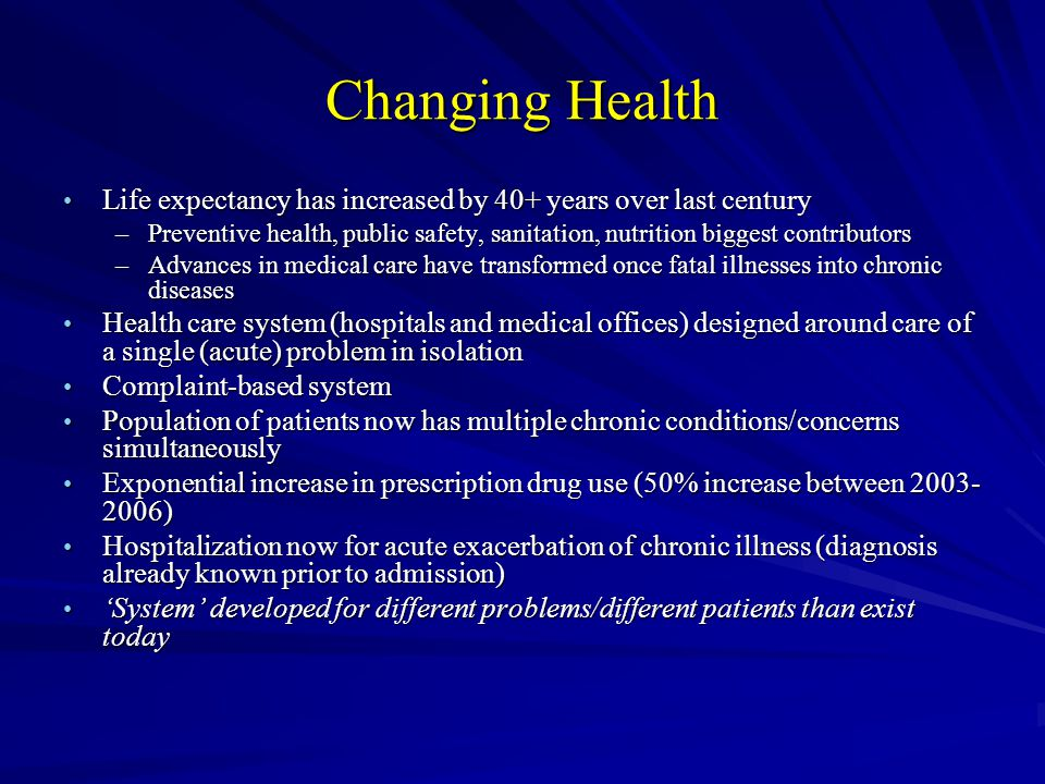 Changing Health Life expectancy has increased by 40+ years over last century Life expectancy has increased by 40+ years over last century –Preventive health, public safety, sanitation, nutrition biggest contributors –Advances in medical care have transformed once fatal illnesses into chronic diseases Health care system (hospitals and medical offices) designed around care of a single (acute) problem in isolation Health care system (hospitals and medical offices) designed around care of a single (acute) problem in isolation Complaint-based system Complaint-based system Population of patients now has multiple chronic conditions/concerns simultaneously Population of patients now has multiple chronic conditions/concerns simultaneously Exponential increase in prescription drug use (50% increase between 2003- 2006) Exponential increase in prescription drug use (50% increase between 2003- 2006) Hospitalization now for acute exacerbation of chronic illness (diagnosis already known prior to admission) Hospitalization now for acute exacerbation of chronic illness (diagnosis already known prior to admission) System developed for different problems/different patients than exist today System developed for different problems/different patients than exist today