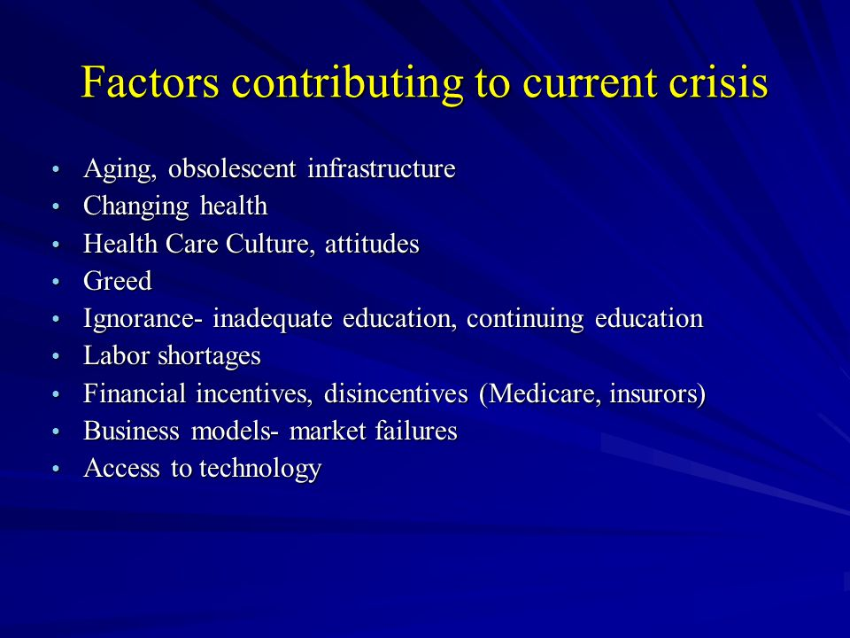 Factors contributing to current crisis Aging, obsolescent infrastructure Aging, obsolescent infrastructure Changing health Changing health Health Care