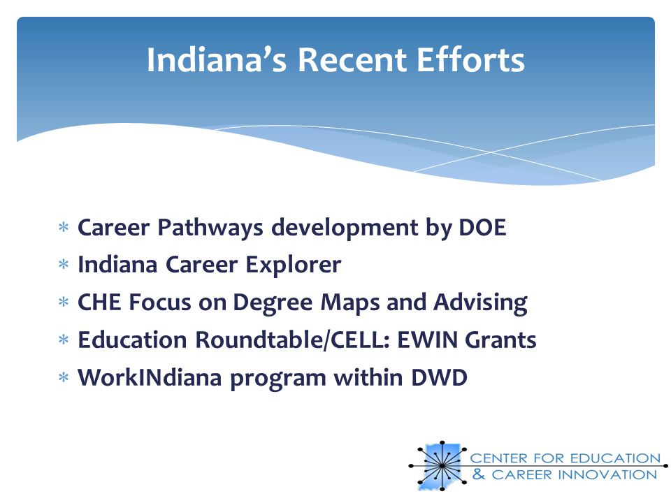 Career Pathways development by DOE Indiana Career Explorer CHE Focus on Degree Maps and Advising Education Roundtable/CELL: EWIN Grants WorkINdiana pr