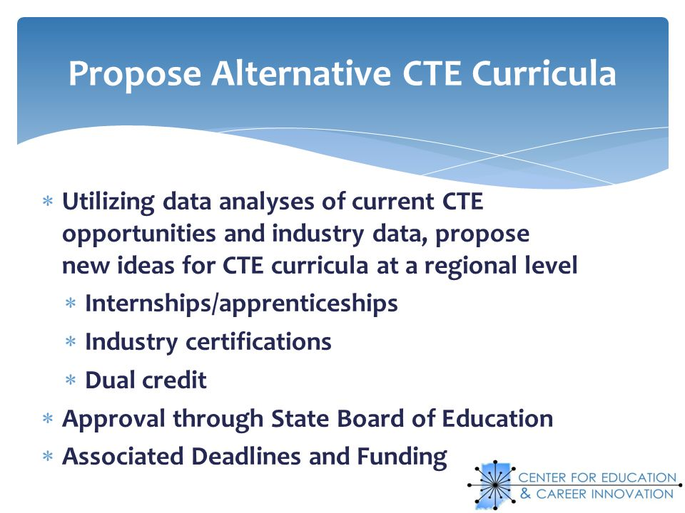 Utilizing data analyses of current CTE opportunities and industry data, propose new ideas for CTE curricula at a regional level Internships/apprentice