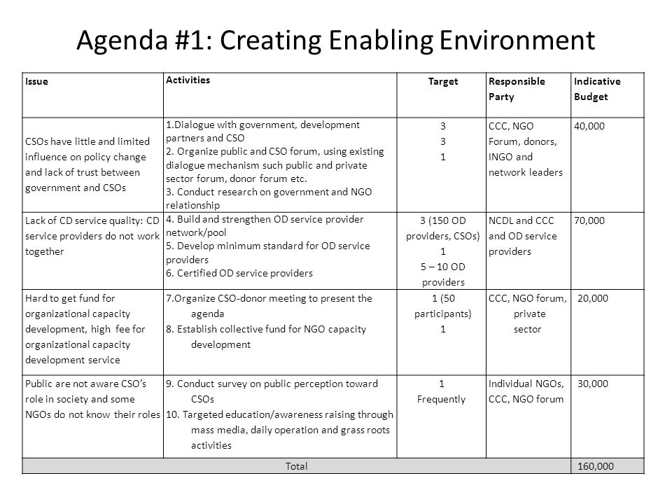 Agenda #1: Creating Enabling Environment Issue Activities Target Responsible Party Indicative Budget CSOs have little and limited influence on policy change and lack of trust between government and CSOs 1.Dialogue with government, development partners and CSO 2.