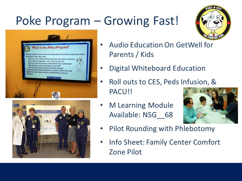 Poke Program – Growing Fast! Audio Education On GetWell for Parents / Kids Digital Whiteboard Education Roll outs to CES, Peds Infusion, & PACU!! M Le