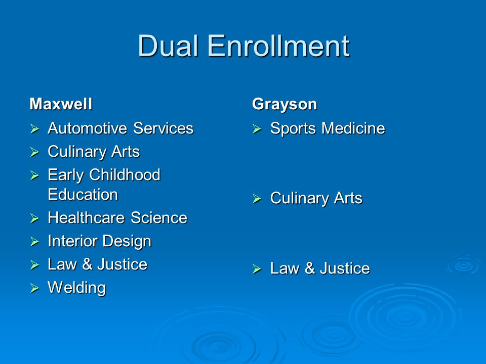 Dual Enrollment Maxwell Automotive Services Automotive Services Culinary Arts Culinary Arts Early Childhood Education Early Childhood Education Health