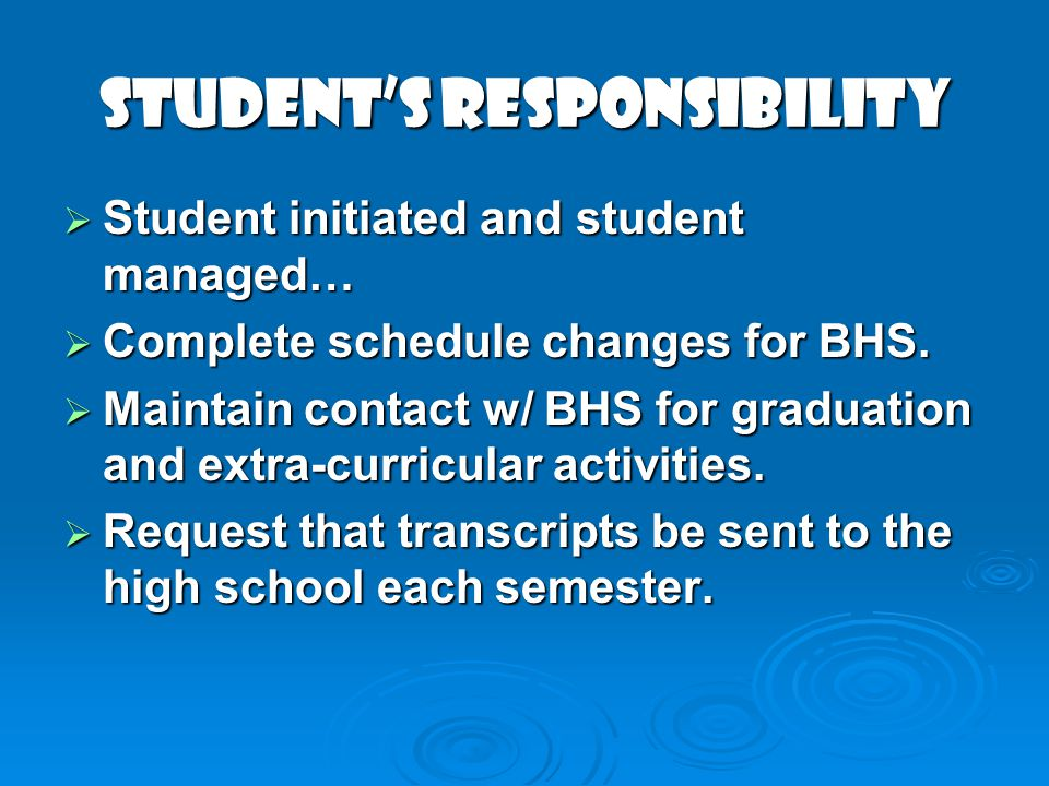 STUDENTs RESPONSIBILITY Student initiated and student managed… Student initiated and student managed… Complete schedule changes for BHS. Complete sche