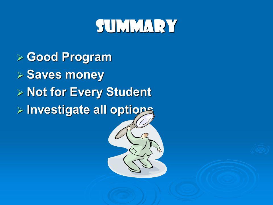 Summary Good Program Good Program Saves money Saves money Not for Every Student Not for Every Student Investigate all options Investigate all options