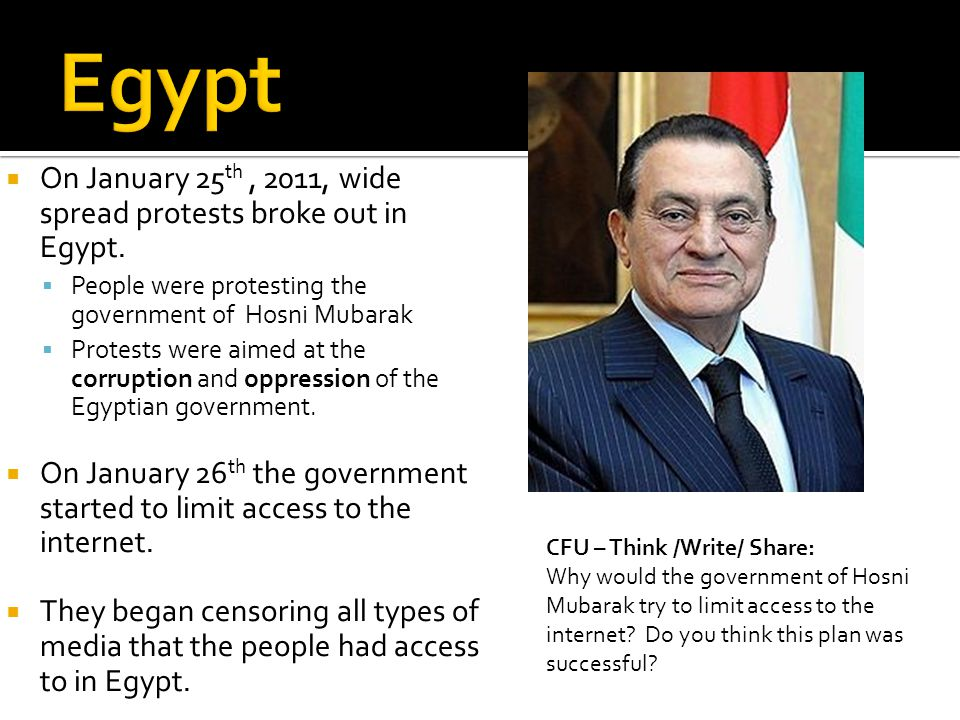 On January 25 th, 2011, wide spread protests broke out in Egypt.