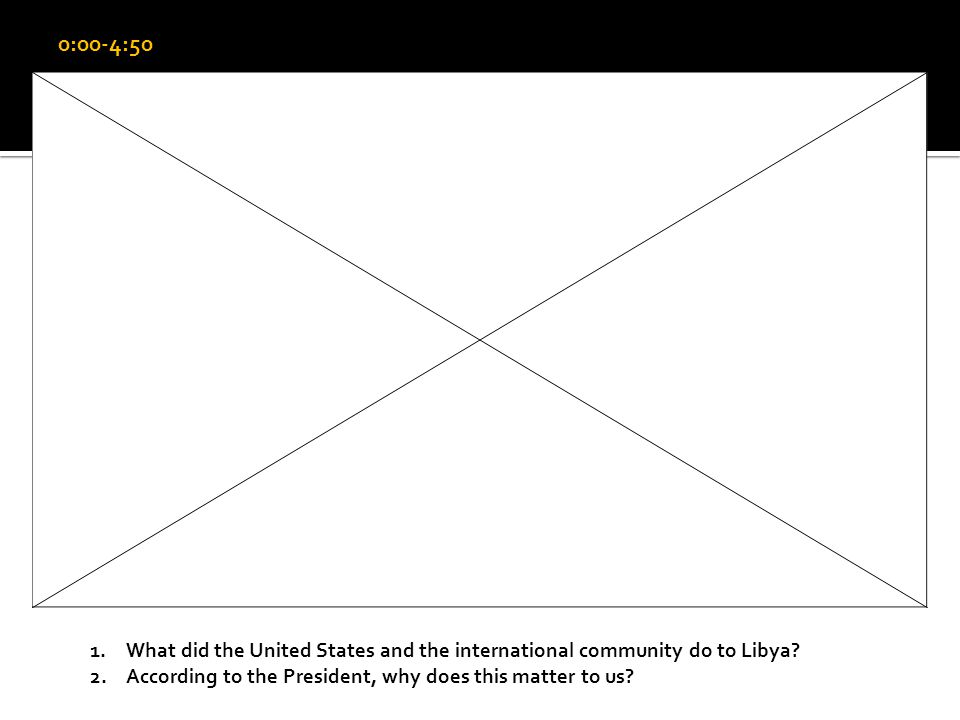 0:00-4:50 1.What did the United States and the international community do to Libya.