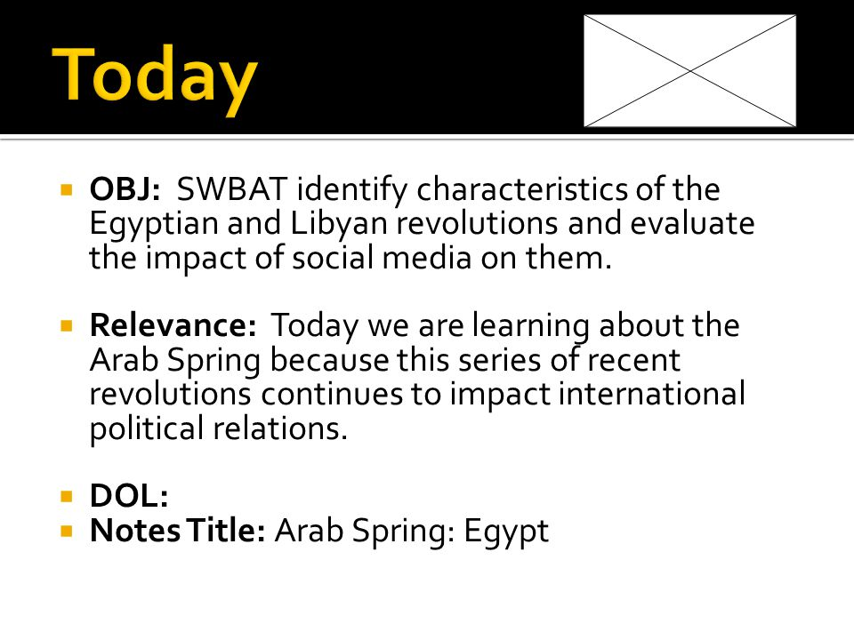 OBJ: SWBAT identify characteristics of the Egyptian and Libyan revolutions and evaluate the impact of social media on them.