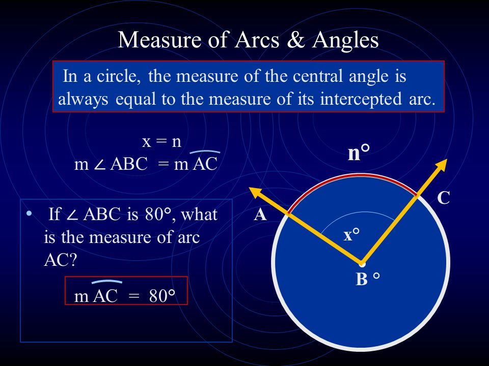 Measure of Arcs & Angles If ABC is 80°, what is the measure of arc AC.
