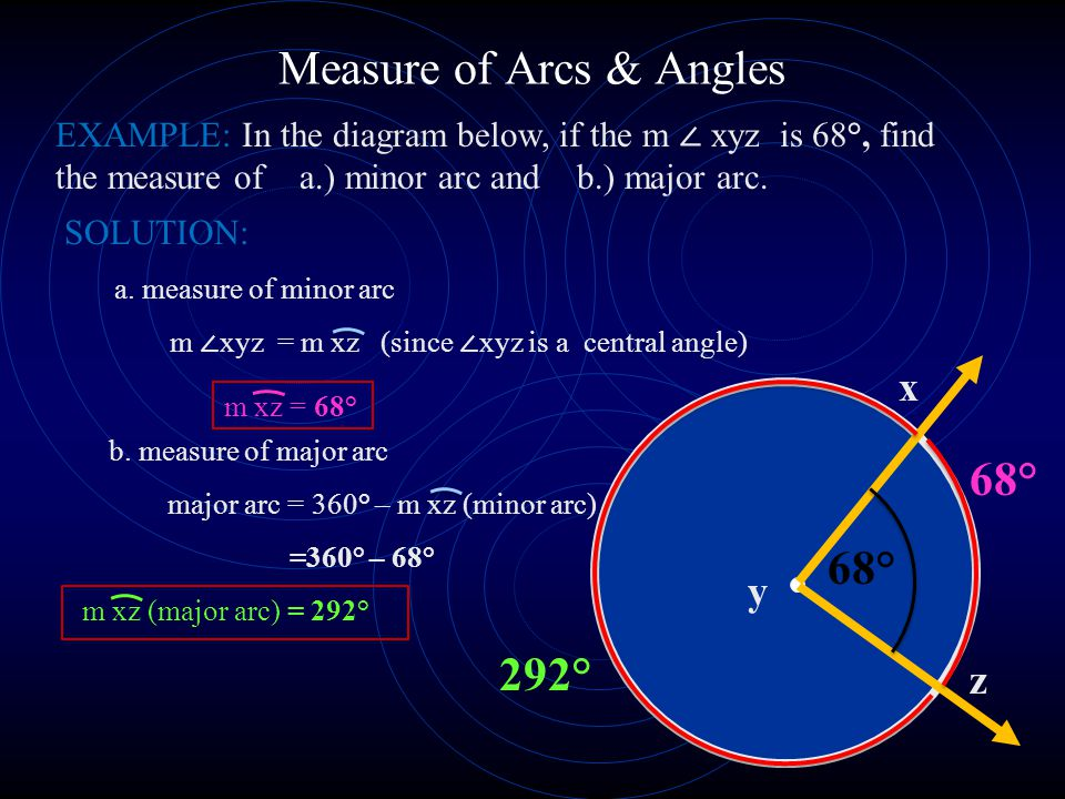 Measure of Arcs & Angles SOLUTION: a.