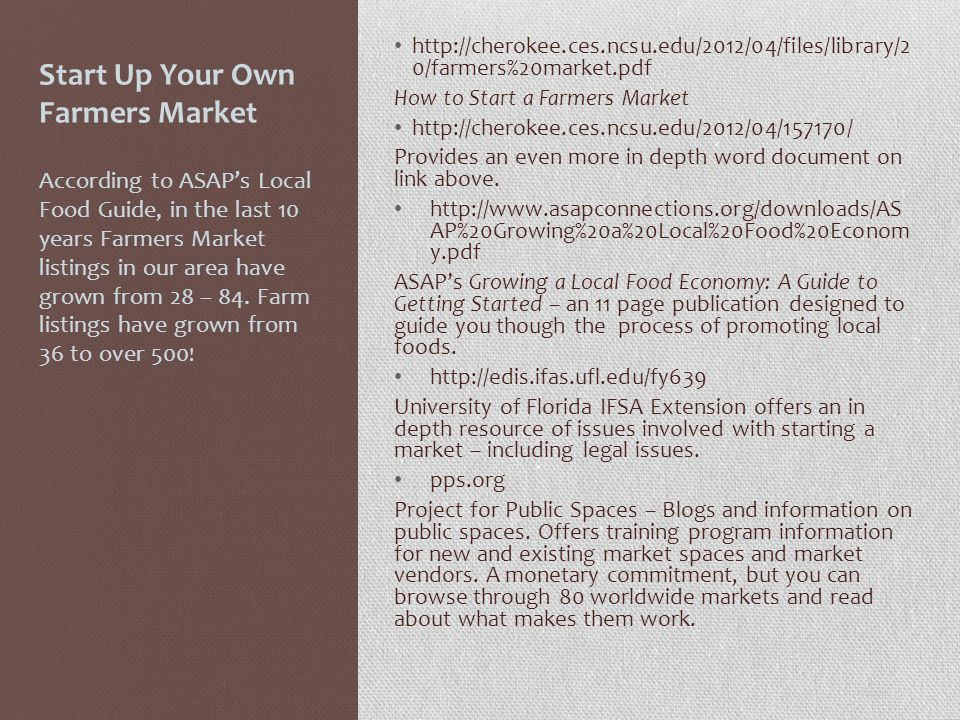 Start Up Your Own Farmers Market http://cherokee.ces.ncsu.edu/2012/04/files/library/2 0/farmers%20market.pdf How to Start a Farmers Market http://cherokee.ces.ncsu.edu/2012/04/157170/ Provides an even more in depth word document on link above.