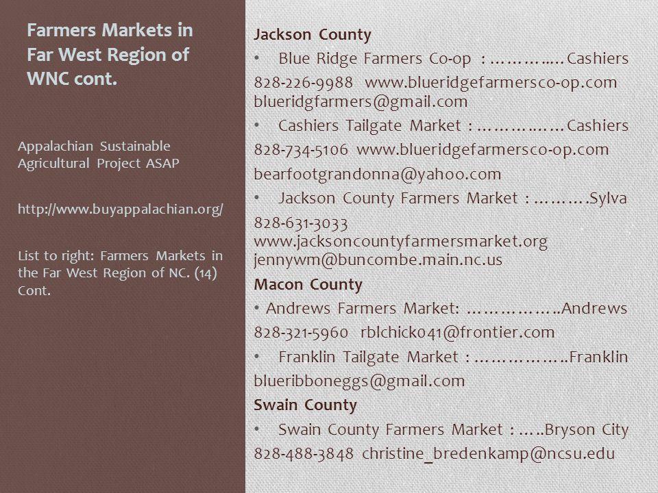 Farmers Markets in Far West Region of WNC cont.