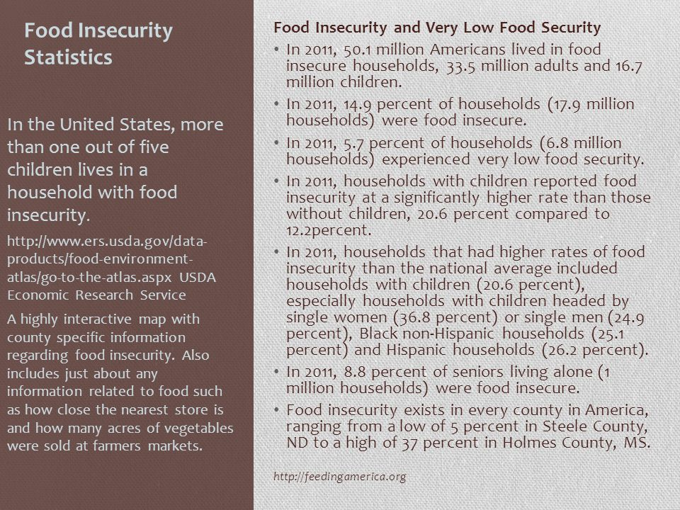 Food Insecurity Statistics Food Insecurity and Very Low Food Security In 2011, 50.1 million Americans lived in food insecure households, 33.5 million adults and 16.7 million children.