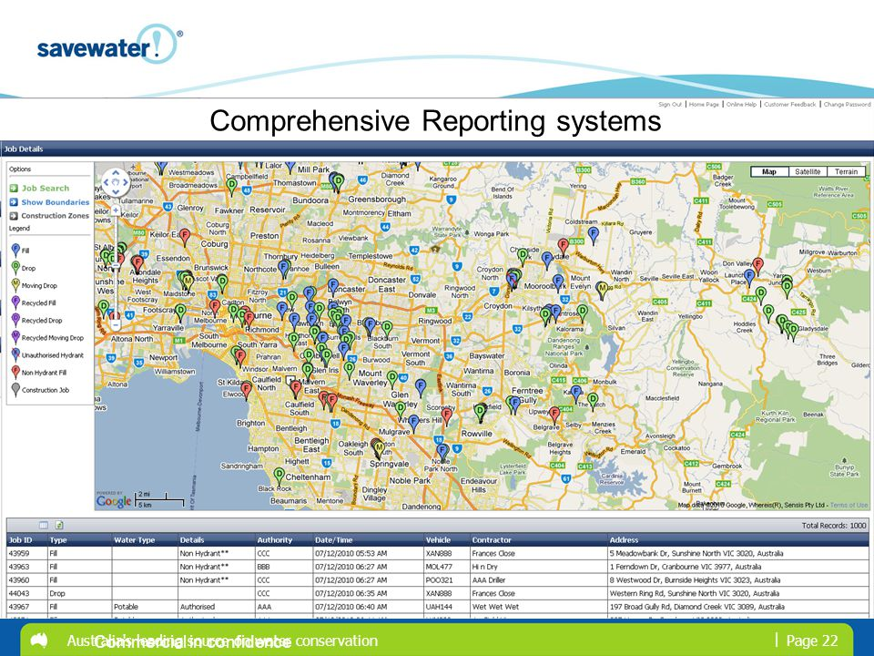 | Australia's leading source on water conservationPage 22 Commercial in confidence Comprehensive Reporting systems