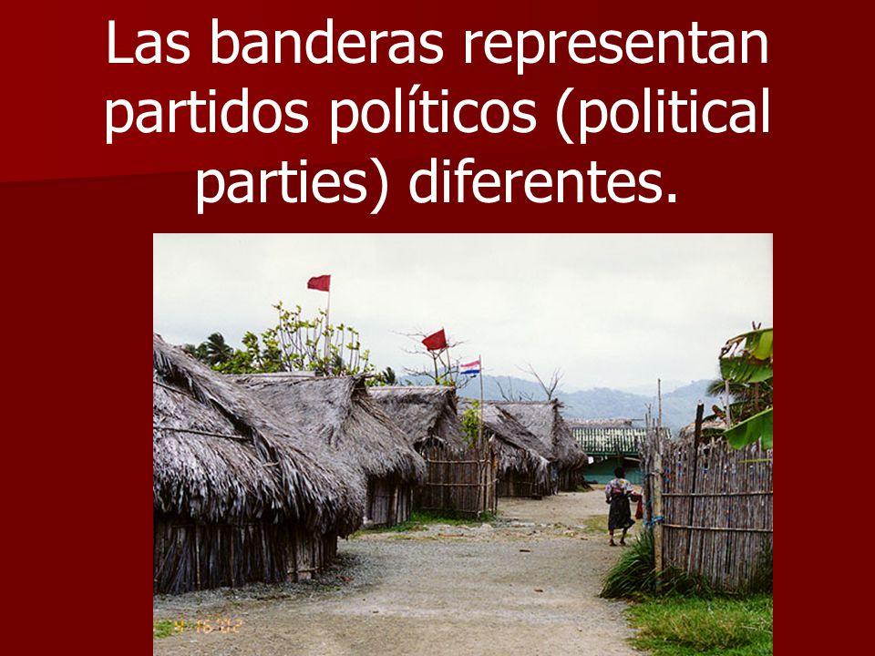 Las banderas representan partidos políticos (political parties) diferentes.