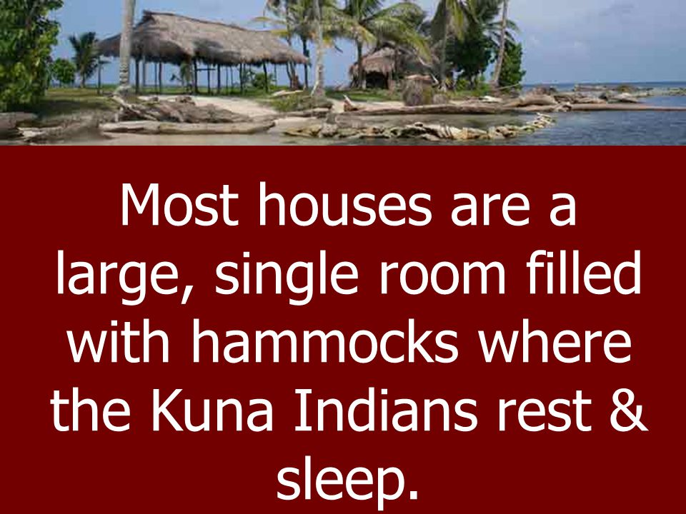 Most houses are a large, single room filled with hammocks where the Kuna Indians rest & sleep.