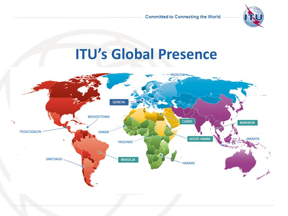 Committed to Connecting the World Emergency Communications Consistent approach for the transmission of warning or alerting messages Call prioritization for emergency calls in a disaster area Emergency call numbers Common alerting protocol (CAP) ITU: Committed to Connecting the World