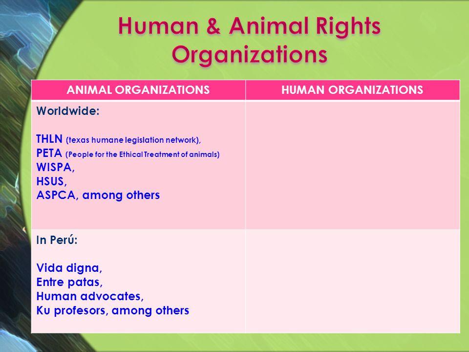 ANIMAL ORGANIZATIONSHUMAN ORGANIZATIONS Worldwide: THLN (texas humane legislation network), PETA (People for the Ethical Treatment of animals) WISPA,