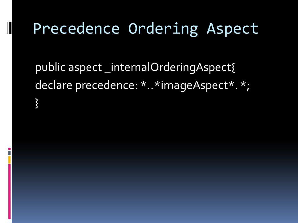 Precedence Ordering Aspect public aspect _internalOrderingAspect{ declare precedence: *..*imageAspect*. *; }