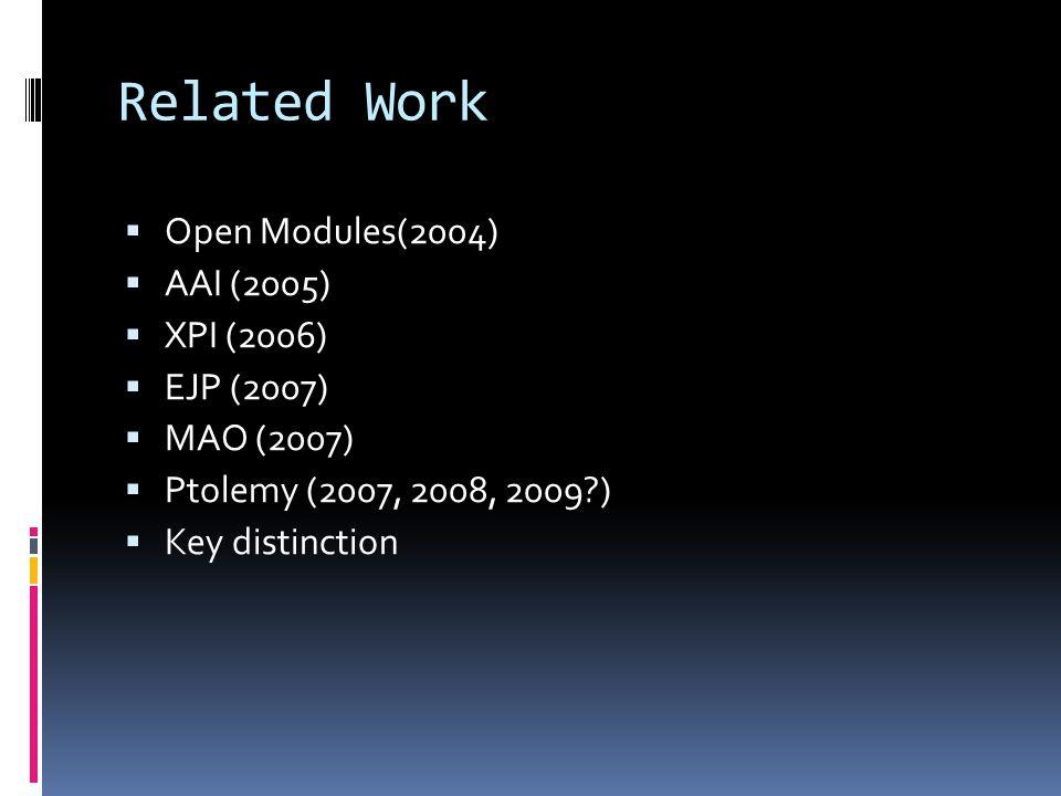 Related Work Open Modules(2004) AAI (2005) XPI (2006) EJP (2007) MAO (2007) Ptolemy (2007, 2008, 2009?) Key distinction