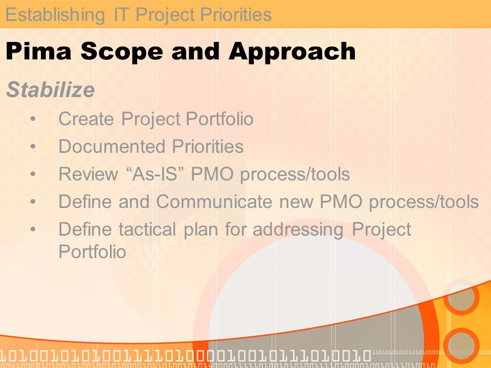 Establishing IT Project Priorities Pima Scope and Approach Stabilize Create Project Portfolio Documented Priorities Review As-IS PMO process/tools Define and Communicate new PMO process/tools Define tactical plan for addressing Project Portfolio