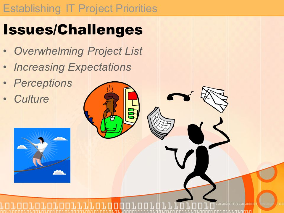 Establishing IT Project Priorities Issues/Challenges Overwhelming Project List Increasing Expectations Perceptions Culture