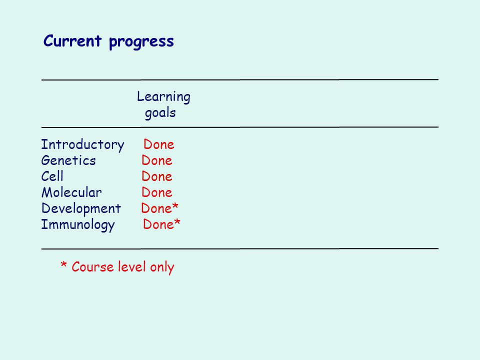 Learning goals Introductory Done Genetics Done Cell Done Molecular Done Development Done* Immunology Done* Current progress * Course level only