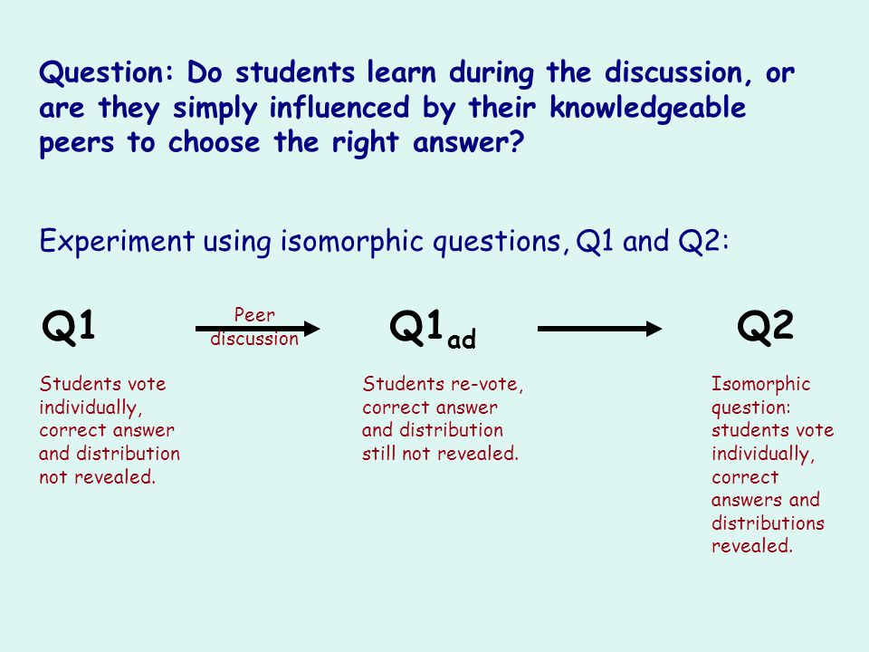 Question: Do students learn during the discussion, or are they simply influenced by their knowledgeable peers to choose the right answer? Experiment u