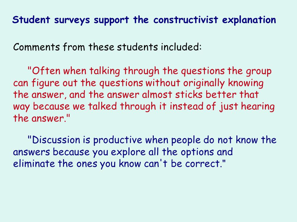 Comments from these students included: