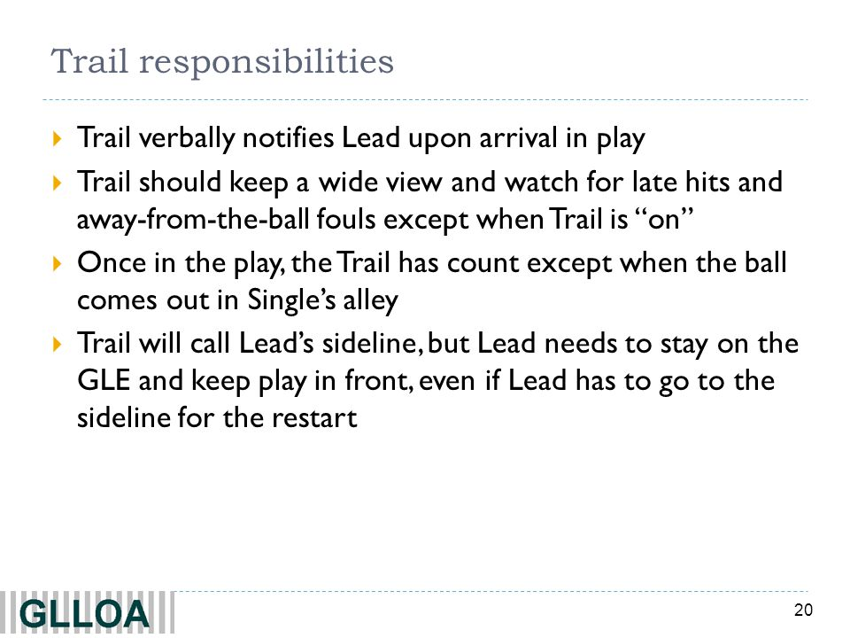 20 Trail responsibilities Trail verbally notifies Lead upon arrival in play Trail should keep a wide view and watch for late hits and away-from-the-ba