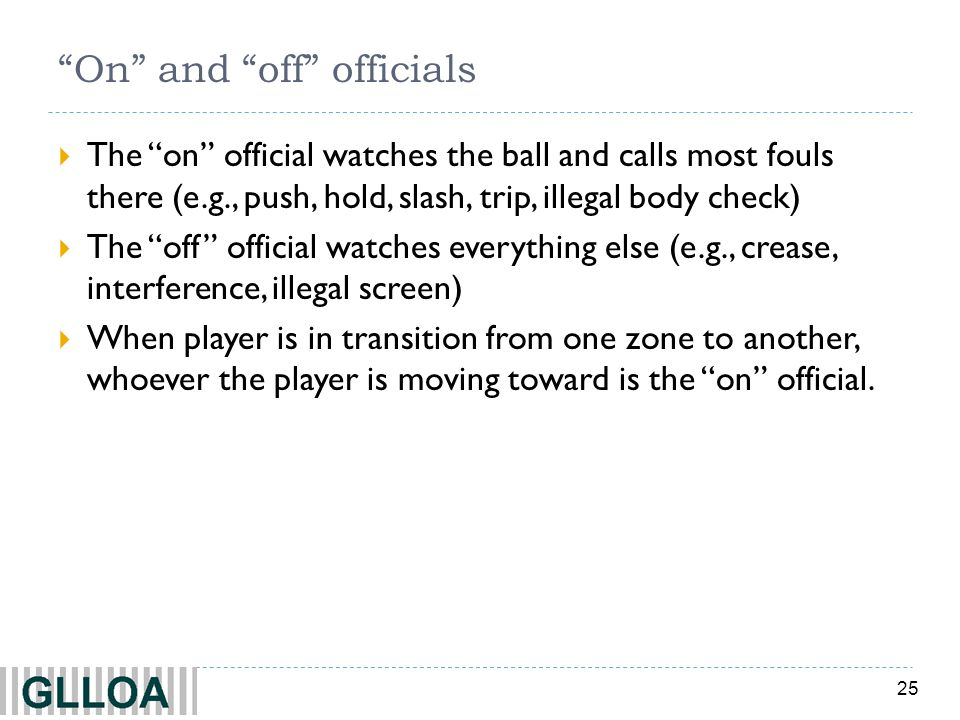 25 On and off officials The on official watches the ball and calls most fouls there (e.g., push, hold, slash, trip, illegal body check) The off offici
