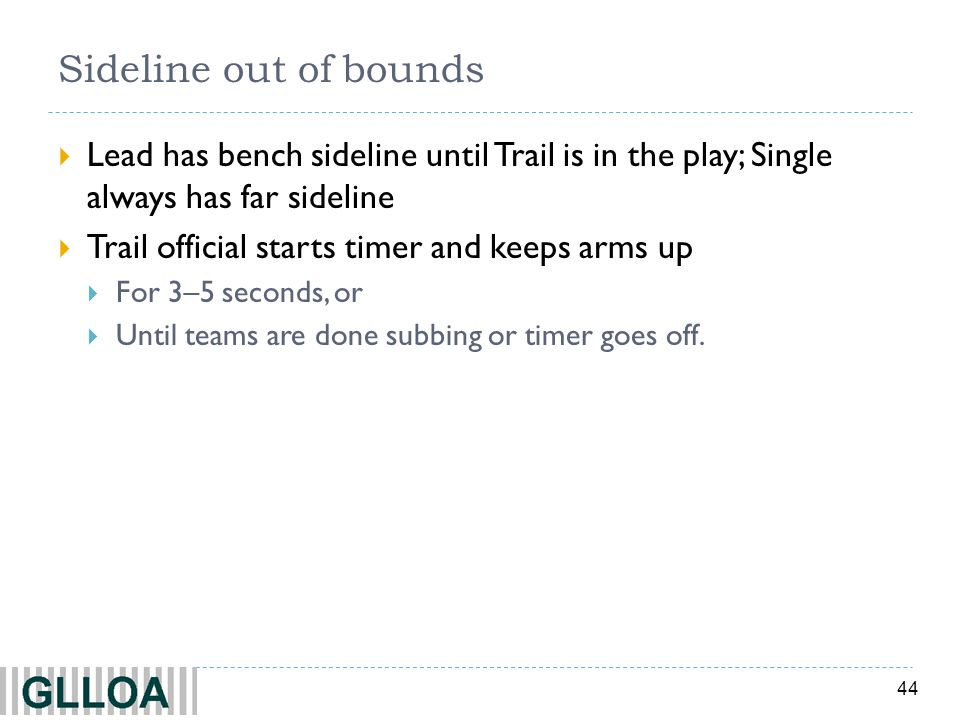 44 Sideline out of bounds Lead has bench sideline until Trail is in the play; Single always has far sideline Trail official starts timer and keeps arm