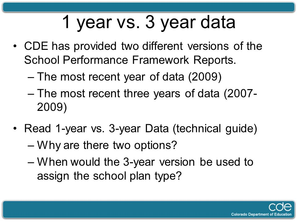 1 year vs. 3 year data CDE has provided two different versions of the School Performance Framework Reports. –The most recent year of data (2009) –The