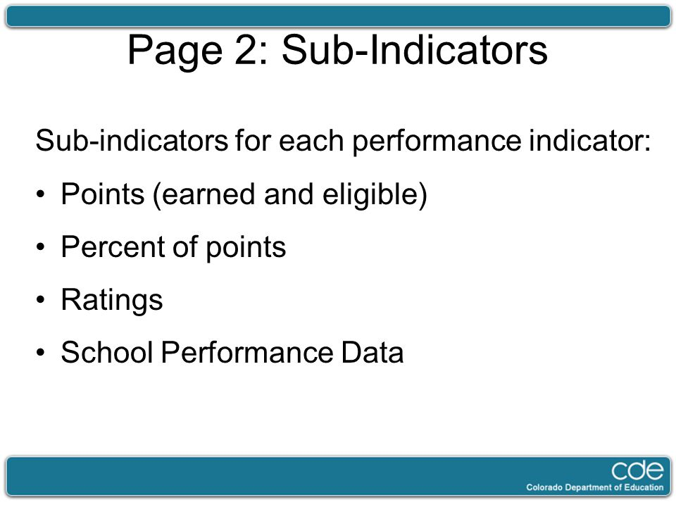 Page 2: Sub-Indicators Sub-indicators for each performance indicator: Points (earned and eligible) Percent of points Ratings School Performance Data