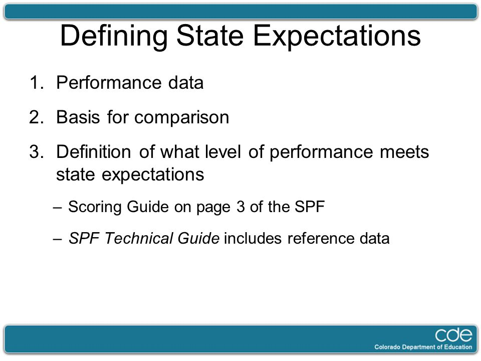 Defining State Expectations 1.Performance data 2.Basis for comparison 3.Definition of what level of performance meets state expectations –Scoring Guide on page 3 of the SPF –SPF Technical Guide includes reference data