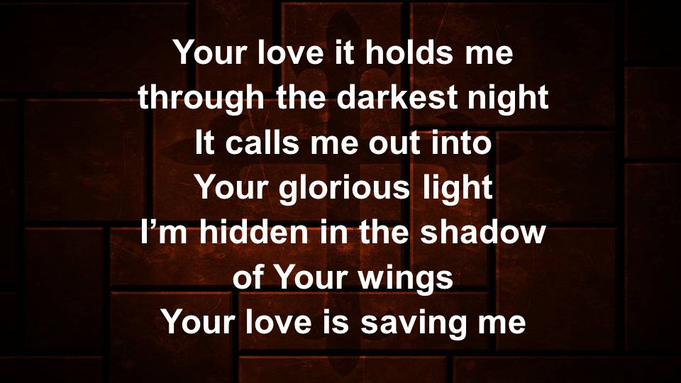Your love it holds me through the darkest night It calls me out into Your glorious light Im hidden in the shadow of Your wings Your love is saving me