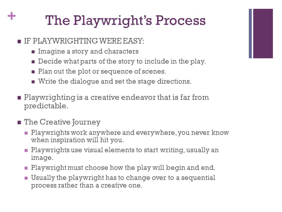 + The Playwrights Process IF PLAYWRIGHTING WERE EASY: Imagine a story and characters Decide what parts of the story to include in the play. Plan out t