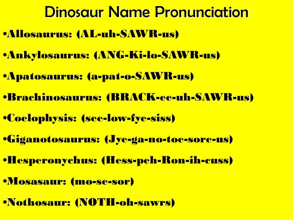 Dinosaur Name Pronunciation Allosaurus: (AL-uh-SAWR-us) Ankylosaurus: (ANG-Ki-lo-SAWR-us) Apatosaurus: (a-pat-o-SAWR-us) Brachinosaurus: (BRACK-ee-uh-