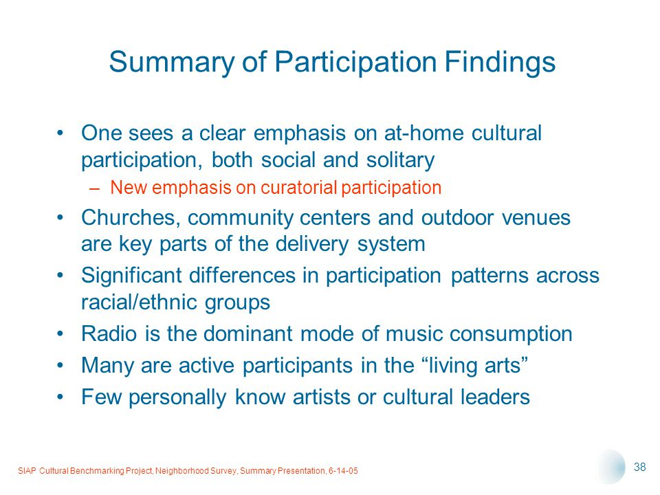 SIAP Cultural Benchmarking Project, Neighborhood Survey, Summary Presentation, 6-14-05 38 Summary of Participation Findings One sees a clear emphasis on at-home cultural participation, both social and solitary –New emphasis on curatorial participation Churches, community centers and outdoor venues are key parts of the delivery system Significant differences in participation patterns across racial/ethnic groups Radio is the dominant mode of music consumption Many are active participants in the living arts Few personally know artists or cultural leaders