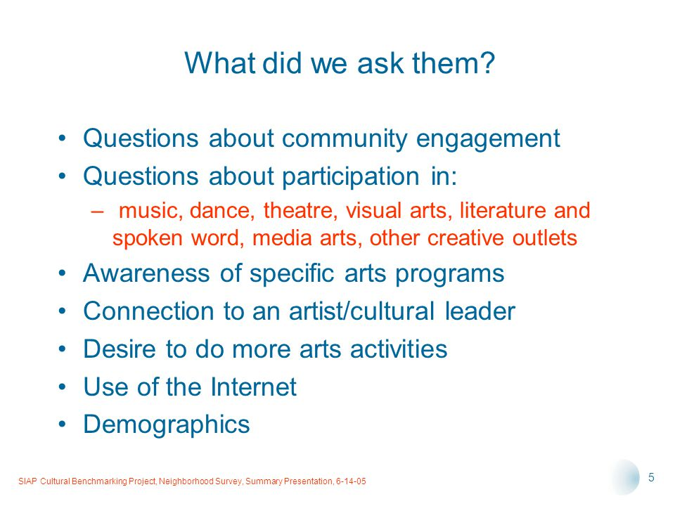 SIAP Cultural Benchmarking Project, Neighborhood Survey, Summary Presentation, 6-14-05 5 What did we ask them.