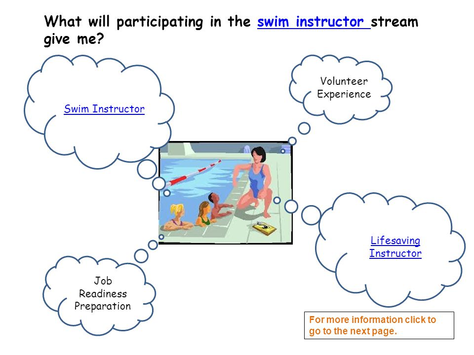 What will participating in the swim instructor stream give me?swim instructor Job Readiness Preparation Volunteer Experience Swim Instructor Lifesaving Instructor For more information click to go to the next page.