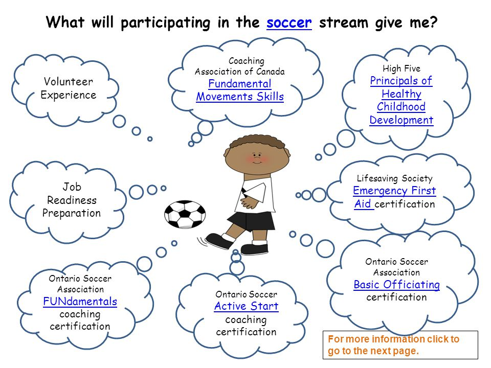 What will participating in the soccer stream give me?soccer High Five Principals of Healthy Childhood Development Principals of Healthy Childhood Development Lifesaving Society Emergency First Aid certification Emergency First Aid Coaching Association of Canada Fundamental Movements Skills Fundamental Movements Skills Ontario Soccer Association FUNdamentals coaching certification Job Readiness Preparation Volunteer Experience Ontario Soccer Active Start c oaching certification Active Start For more information click to go to the next page.