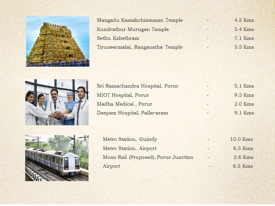 Sri Ramachandra Hospital, Porur-5.1 Kms MIOT Hospital, Porur-9.3 Kms Madha Medical, Porur-2.0 Kms Deepam Hospital, Pallavaram-9.1 Kms Mangadu Kamakchiamman Temple-4.5 Kms Kundrathur Murugan Temple-5.4 Kms Sethu Kshethram-7.1 Kms Tiruneermalai, Ranganatha Temple-5.5 Kms Metro Station, Guindy - 10.0 Kms Metro Station, Airport - 6.5 Kms Mono Rail (Proposed), Porur Junction - 5.6 Kms Airport - 6.5 Kms