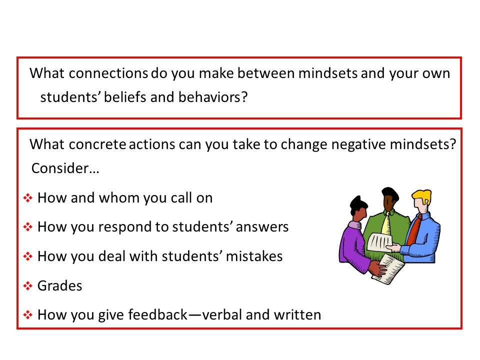 What connections do you make between mindsets and your own students beliefs and behaviors.