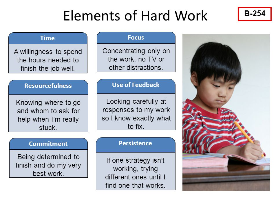 Elements of Hard Work Time A willingness to spend the hours needed to finish the job well.
