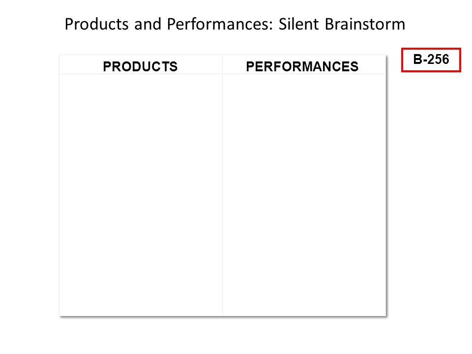 34 PERFORMANCESPRODUCTS Products and Performances: Silent Brainstorm B-256